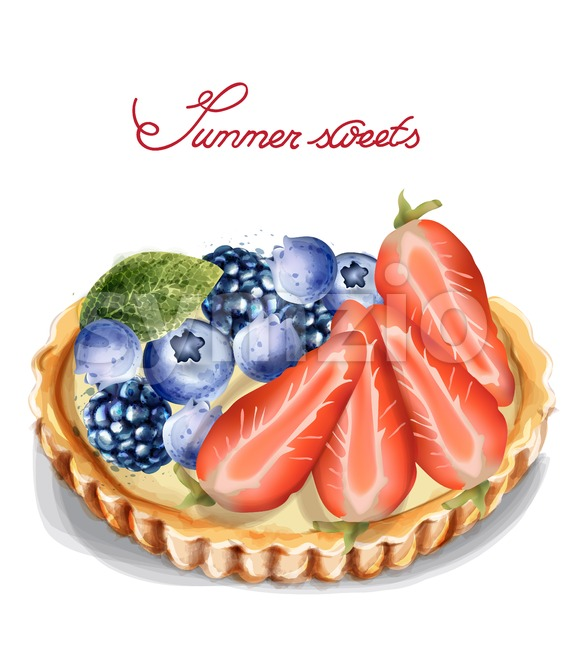 Fruit tartlet Invitation isolated Vector watercolor. Strawberry and blueberry sweet cupcake Stock Vector