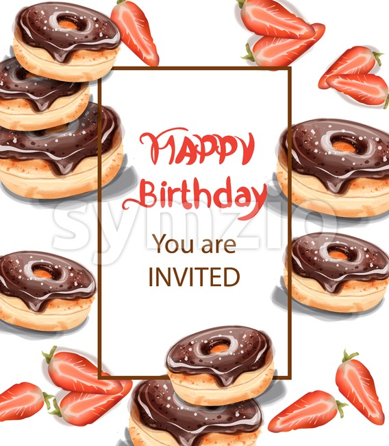 Birthday donuts Invitation card Vector watercolor. Chocolate strawberry sweet decor Stock Vector