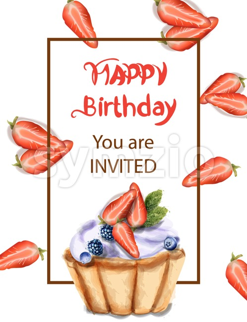 Birthday cupcake Invitation card Vector watercolor. Strawberry and blueberry sweet cupcake
