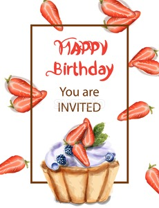 Birthday cupcake Invitation card Vector watercolor. Strawberry and blueberry sweet cupcake Stock Vector