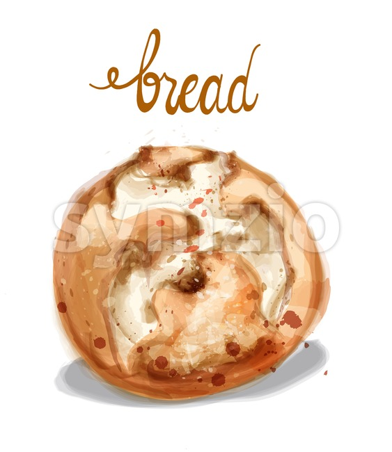 Watercolor bread Vector illustration. Vintage homemade bakery Stock Vector