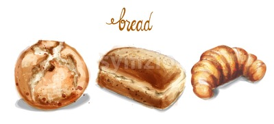 Watercolor bread set Vector illustration. Vintage homemade bakery Stock Vector