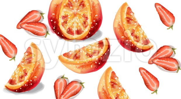 Orange and strawberry slices fruits Vector watercolor illustration Stock Vector
