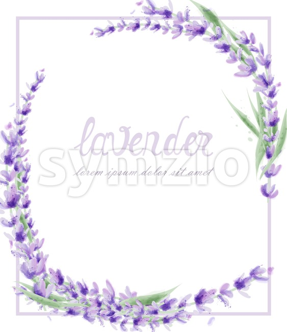 Lavender wreath Vector watercolor. Round frame decor illustration Stock Vector
