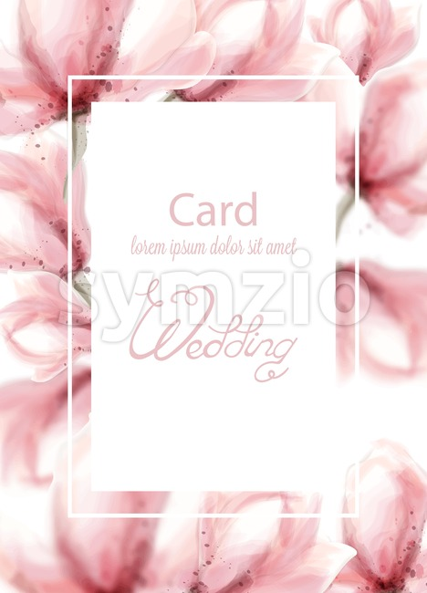Wedding card with pink flowers Vector watercolor. Delicate floral frame decor Stock Vector