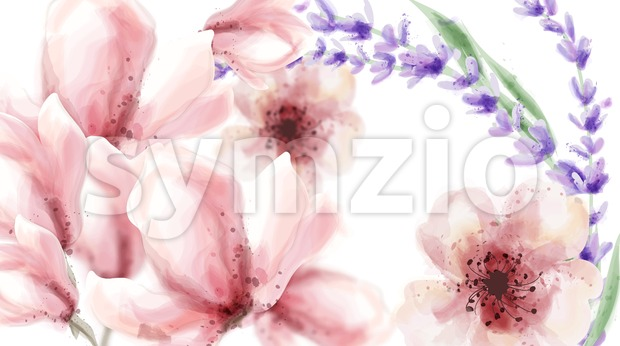 Pink delicate flowers and lavender Vector watercolor background. Spring summer texture Stock Vector