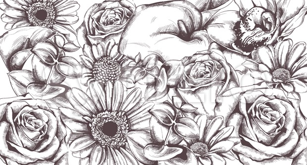 Vintage flowers pattern Vector line art. Roses and sunflower detailed texture Stock Vector