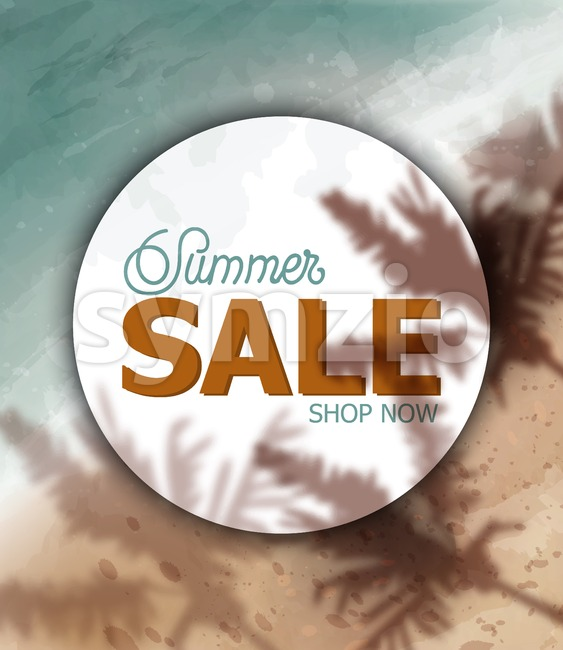 Summer tropic seaside Vector watercolor. Sea cost and palm trees shadow. Holiday poster. Sale banner template