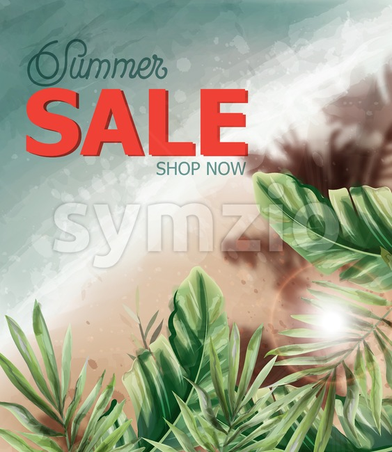 Summer tropic seaside Vector watercolor. Sea cost and palm trees. Holiday poster. Sale banner template