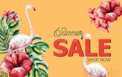 Summer tropic flowers and flamingo card Vector watercolor. Holiday poster. Sale banner template Stock Vector