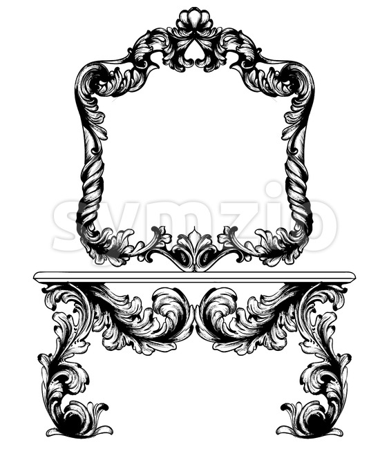 Vintage frame and table Vector line art. Classic engraved ornaments. Royal style Stock Vector