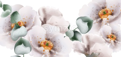 White flowers watercolor Vector. Beautiful floral card summer background Stock Vector