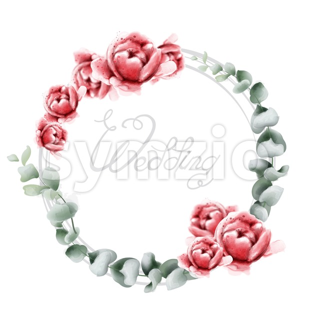Wedding wreath roses watercolor Vector. Beautiful flowers card with green leaves. Summer botany decor Stock Vector