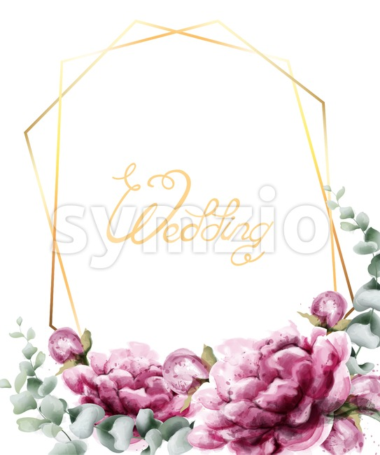 Wedding invitation roses watercolor Vector. Beautiful flowers card in golden abstract frame. Summer botany decor