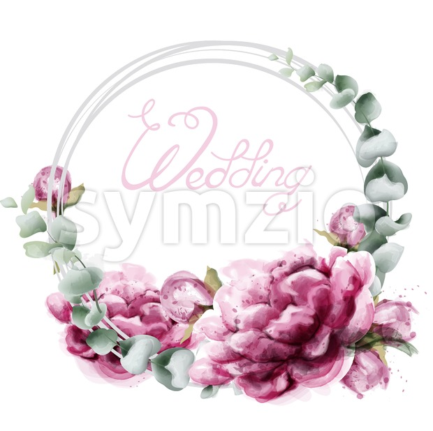 Wedding wreath roses watercolor Vector. Beautiful flowers card with green leaves. Botany decor design Stock Vector