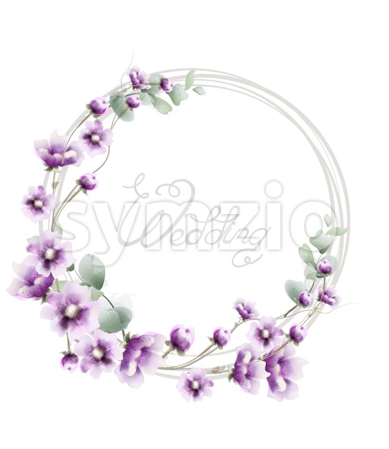 Lavender wreath wedding frame Vector watercolor. Floral card decor Stock Vector