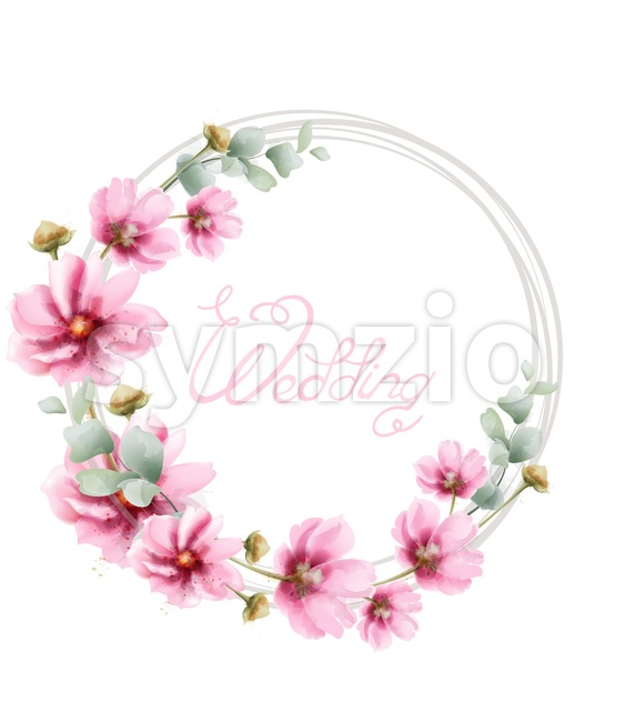 Wedding wreath with summer colorful flowers Vector watercolor card. Floral frame decor Stock Vector