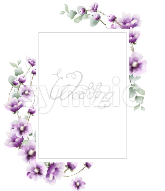 Lavender summer frame Vector watercolor card background Stock Vector