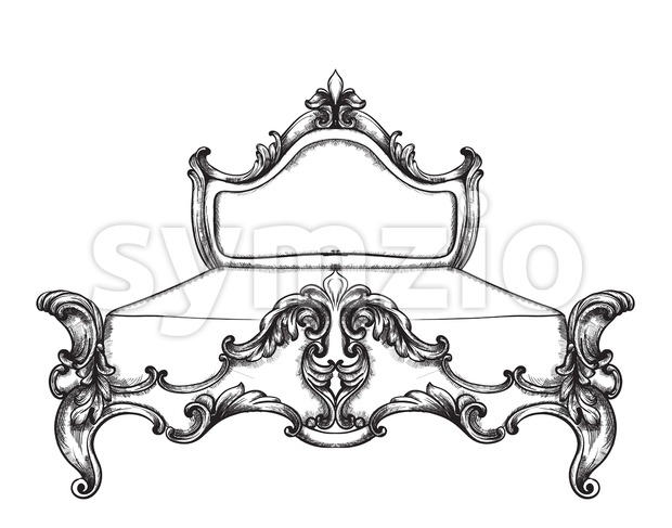 Baroque bed Vector line art. Ornamened decor designs. Luxury imperial royal style Stock Vector