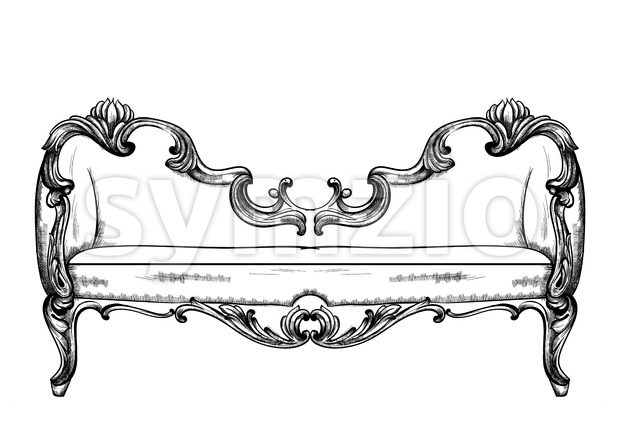 Baroque bench Vector. Imperial style furniture. Vintage design Stock Vector