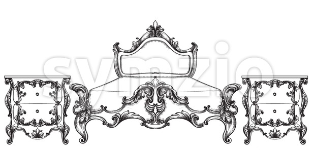 Baroque bed Vector. Imperial style furniture. Vintage design Stock Vector
