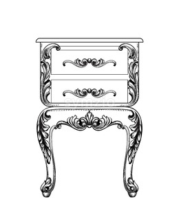 Baroque mirror and nightstand Vector line art. Ornamened decor design Stock Vector