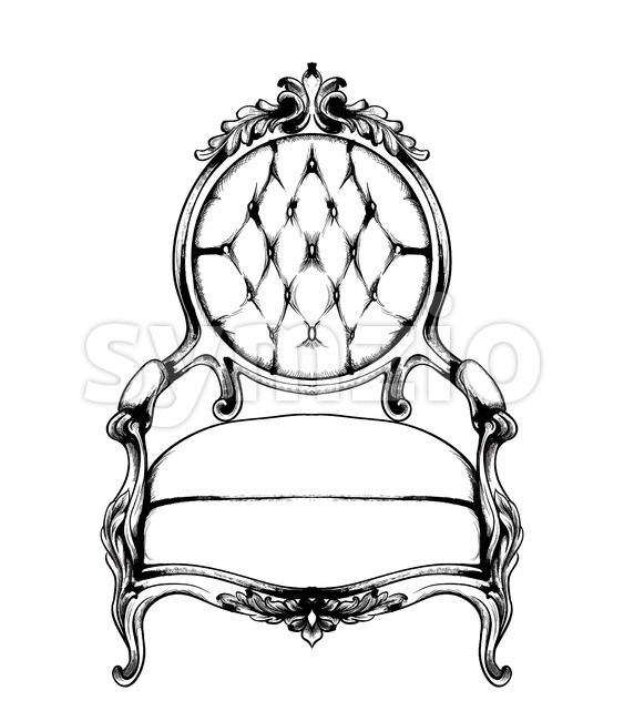 Baroque armchair Vector. Imperial style furniture. Vintage design Stock Vector