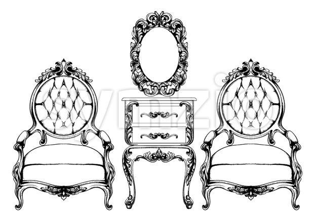 Rich baroque armchair Vector. Imperial style furniture. Vintage design Stock Vector