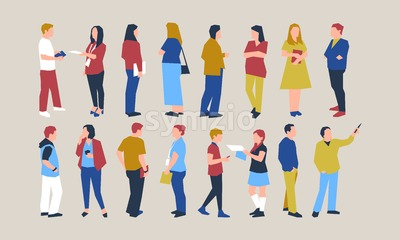 University people icons infographics collection, digital vector advert Stock Vector