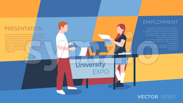 University expo exhibition with people icons infographics collection, digital vector advert Stock Vector
