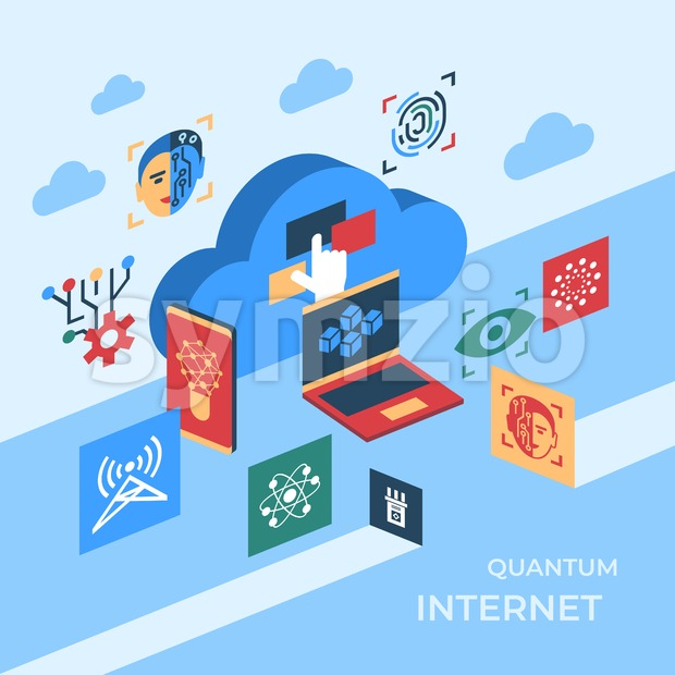 Quantum internet technology icons infographics collection, digital vector advert Stock Vector