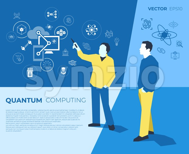 Quantum internet technology icons infographics with people, digital vector advert Stock Vector