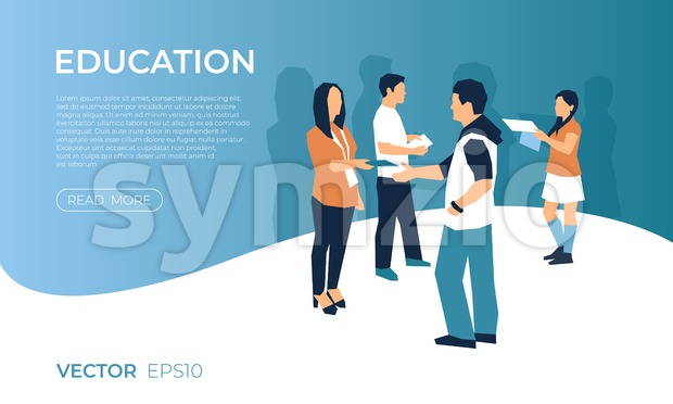 University expo exhibition with people icons infographics collection, digital vector advert Stock Photo