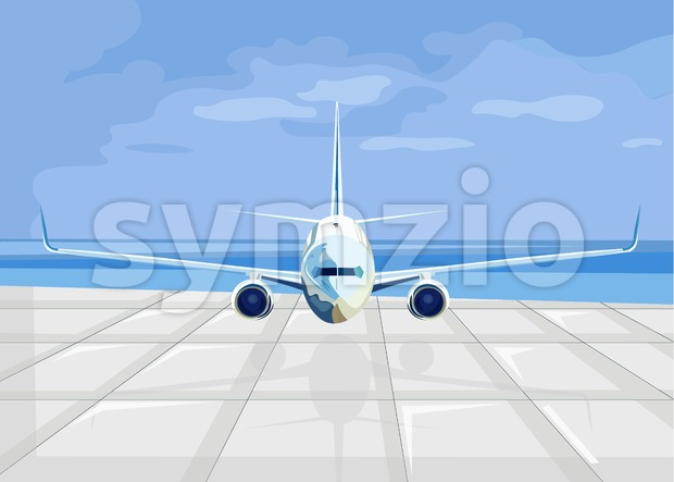 Airplane ready for take off Vector flat style. Travel poster advertise concept Stock Vector