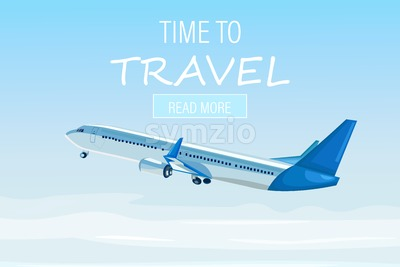 Airplane flying in the sky Vector flat style. Travel poster advertise concept Stock Vector
