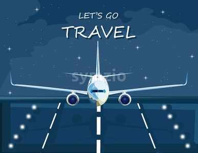 Airplane landing at night Vector flat style. Travel poster advertise Stock Vector