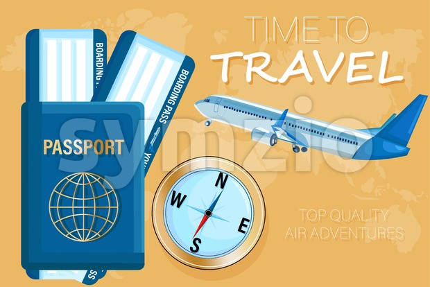Travel tickets and passport Vector flat style. Tourism documents concept