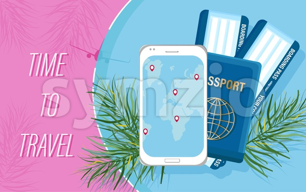 Travel tickets and passport Vector flat style. Tourism documents concepts and smart phone app