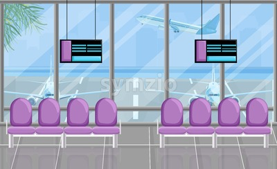 Airport waiting room at the gates with screen Vector flat style. Airplane view. Tourism travel concept background Stock Vector