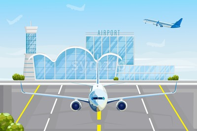 Airplane at the airport Vector flat style. Front view plane next to the airport facade. Travel concept template banner advertise Stock Vector