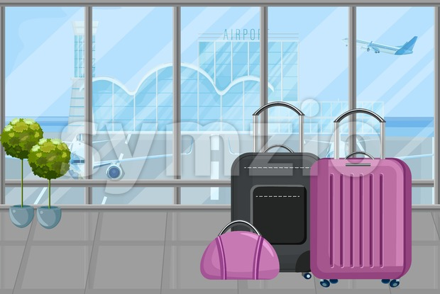 Luggage in the airport Vector flat style. Travel tourism concept template Stock Vector