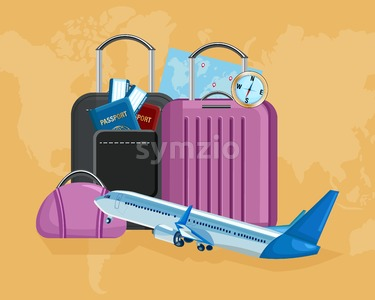 Luggage Vector flat style. Travel tourism concept template illustration Stock Vector