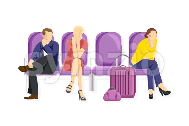 Tourist sitting Vector flat style. People waiting on the chairs. White background template Stock Vector