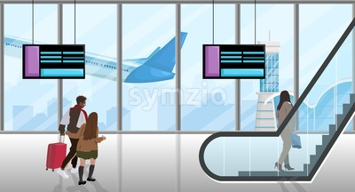 People in the airport Vector flat style. People running to catch the plane. Escalator and time table screens illustration Stock Vector