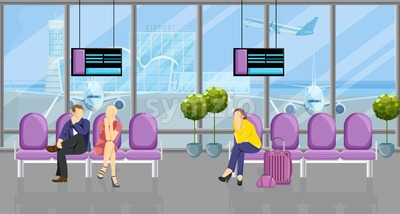 People in the airport waiting for their flight Vector flat style. Tourist sitting on the chairs. Time table screens on background Stock Vector