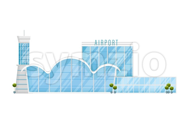 Airport facade Vector flat style. Front view glass windows. Travel concept template