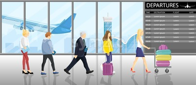 People in line at the gates airport Vector flat style. Tourists with their luggage. Departure panel on backgrounds. Travel concept agency advertise Stock Vector