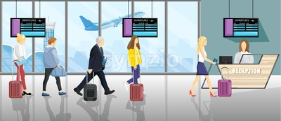 People at the airport Vector flat style. Tourists with the luggage doing the check in. Reception flight booking desk Stock Vector