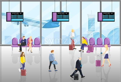 People in the airport Vector flat style. Tourist walking or sitting in the chairs. Time table screens on background Stock Vector