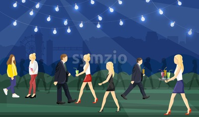 Night party people Vector flat style. Man and women having fun drinking cocktails Stock Vector